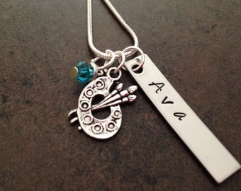Hand Stamped Jewelry, Paint Palette Charm, Artist Jewelry, Name Necklace, Charm Necklace, Birthstone Necklace, Personalized Pendant, Gift