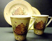 Reduced 20% -2 Mugs and 2 Salad or dessert Plates ~ 222 Fifth ~Cheri Blum Cheri's Garden