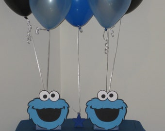 2 Cookie Monster Birthday Party Centerpiece Balloon Holders