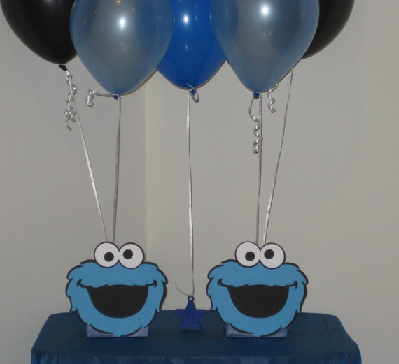 Cookie monster birthday party centerpiece balloon by