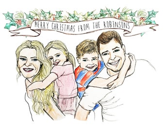 Your Family Portrait Custom Illustrated Christmas or other Greeting Cards