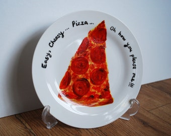 Hand Painted Pepperoni Pizza Side Plate great gift!