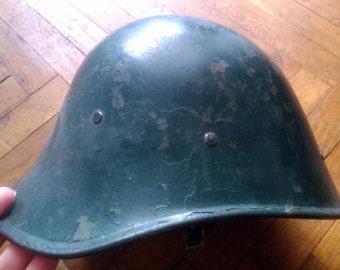 vintage Romanian helmet steel early cold war period, Dutch model, military army, soldier uniform, coldwar Romania