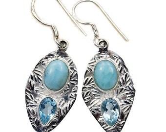 Rare Dominican Larimar Earrings Blue Topaz & .925 Sterling Silver Dangle Earrings ; AA116 The Silver Plaza