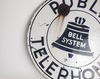 Vintage Antique Metal Double Sided Bell System Public Telephone Sign