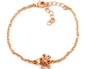 Rosegold plated skull bracelet - rose gold mix and match armcandy - rose gold