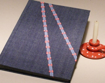 Jeans Photo Album, Denim Photoalbum, Large Book for Childrens Photos, New Baby Album, Blue Fabric Wrap, Light Blue Ribbon with Red Plaid Bow