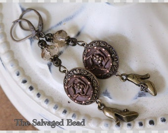 Antique Victorian Twinkle Button Earrings, circa 1880's by The Salvaged Bead
