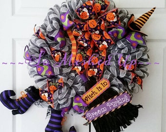 Ready to ship! The Witch is in....IN the wreath, that is! Halloween deco mesh witch wreath.
