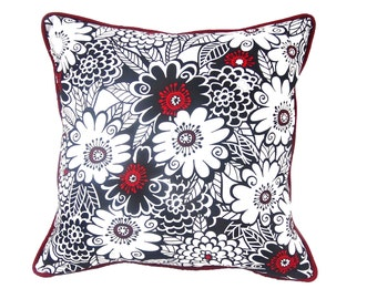 Decorative pillow, Black, white, red, 18 inch floral, Michael Miller Zesty Zinnia, accent pillow, throw pillow, reversible, includes insert