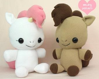 """My Little Pony plush sewing pattern - Horse Unicorn Pegasus PDF - cute soft toy stuffed animal 18"""""""