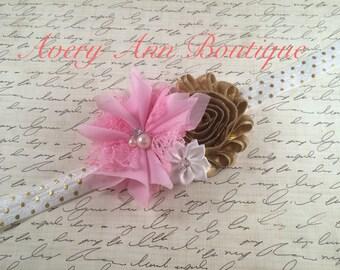 Pink Baby Headband, Gold Headband, Baby Headband, Newborn Headband, Flower Headband, Couture Headband, First Birthday, White Headband