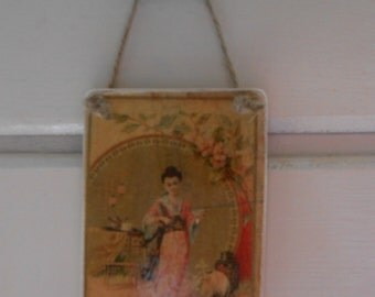 handmade wood hanging sign oriental lady advert postcard image shabby chic french decor
