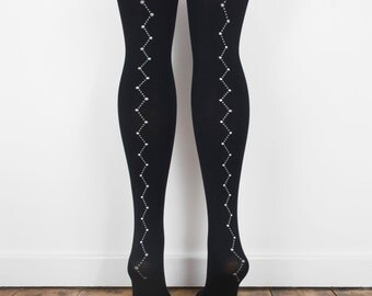 hand printed black constellation tights