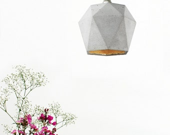 Concrete hanging lamp [T2] Lamp Gold triangulated