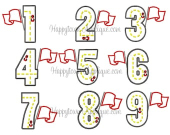 Race Car Number Set Machine Embroidery Design