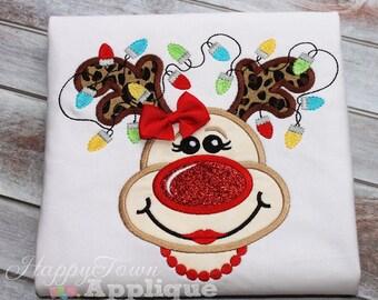 Reindeer Girl Machine Embroidery Applique Design