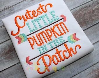 Cutest Little Pumpkin In The Patch Machine Embroidery Design
