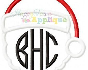 Monogram Santa Head Machine Embroidery Applique Design
