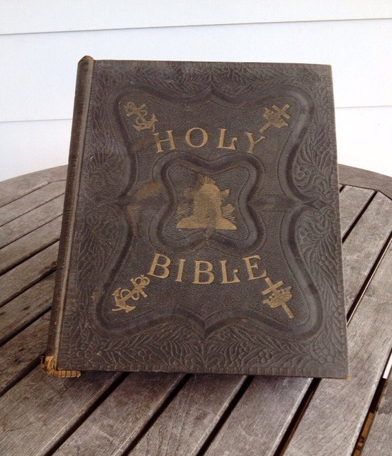 Very Large Pictorial Family Bible From 1892