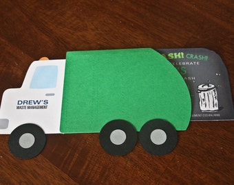 Garbage Truck Birthday Invitation (Die Cut)