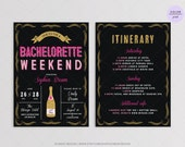 Sparkle Bachelorette Weekend Party Invitation - DIY Printable Digital File - Gold Glitter and Pink