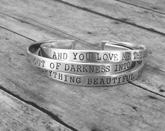"Personalized Jewelry -  Bracelet Aluminum Cuff Personalized Gift You Choose Letters Custom Bracelet - 1/4"" Wide - Bracelet - 16 fonts"