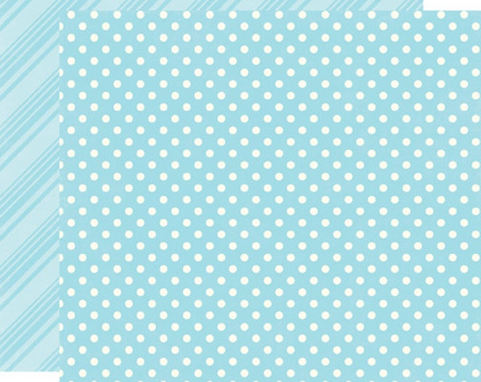 2 Sheets of Echo Park Paper DOTS & STRIPES Summer 12x12 Scrapbook Paper - Sky (DS15010)