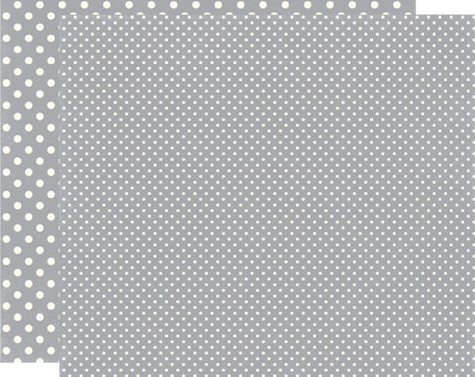 2 Sheets of Echo Park Paper DOTS & STRIPES Christmas 12x12 Scrapbook Paper - Silver (2 Sizes of Dots/No Stripes) DS15046