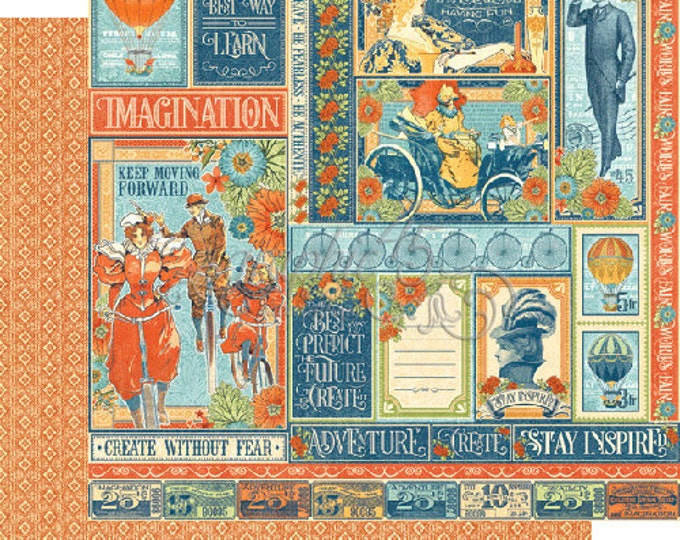 2 Sheets of WORLD'S FAIR Scrapbook Paper by Graphic 45 - Wonder Works