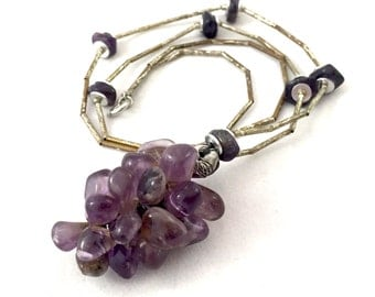 Amethyst Grapes Necklace, Grape Cluster Beaded Purple Amethyst Silver Tone Wine Lover's Necklace, Vineyard Necklace, Grape Cluster Necklace