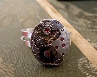 Steampunk Ring, Vintage 1940s Watch Movement, Handmade Ring