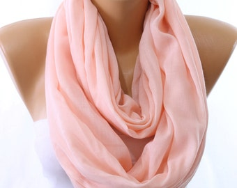 Salmon Shimmery Lightweight Plain Cotton Scarf Infinity Scarf Women Fashion Accessories Scarves Gift Ideas For Her Summer Celebrations
