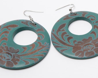 Cher painted wooden hoop earrings