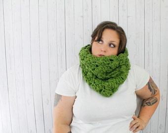 Ready to Ship, LAST ONE, The Cecilia Cowl Scarf, Extra Chunky Crochet Hooded Cowl, Crochet Cowl, Hooded Cowl in Olive Green Wool Blend