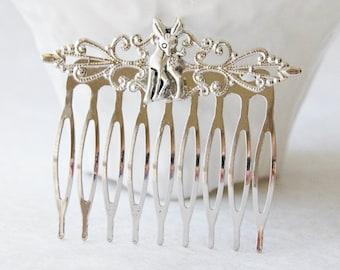 Silver Deer Hair Clip / Oh Dear Hair Comb / Deer Hair Accessories / Fawn Hair Comb / Kawaii Hair Piece