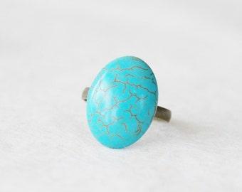 Turquoise Ring * Boho Festival Ring * Chunky Turquoise Statement Ring * Turquoise Jewelry * Turquoise Howlite Ring * Boho Bridesmaid Gift