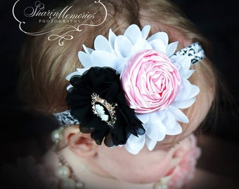 Damask Headband/Lt Pink, Black, White  Headband/Baby Headband/Infant Headband/Newborn Headband/Toddler Headband/Girls Headband/Photo Prop