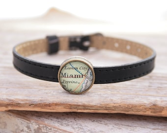 Leather Bracelet Personalized Black Genuine Leather Boho Map Slider Bead Custom Map Jewellery Location Bracelet Custom Friendship Bracelet