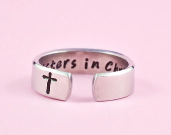 Sisters In Christ - Hand Stamped Aluminum Cuff Ring, The Church Sisters Ring, Religious Jewelry, Cross Ring