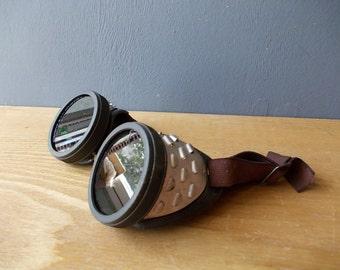 Vintage Welders Glasses / Soviet Welders EYEGLASSES / Vintage USSR 60's / Eyewear / Leather Motorcycle Accessory
