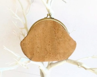 Cork Clutch Purse / Eco Friendly Purse / Metal Frame Cork Wallet / Gift Idea