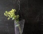 Wire Mesh Hanging Basket ~ Rustic Metal Wall Planter ~ Garden Tool Kitchen Produce Utensil Holder  / 0514