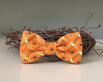 Dog Bow Bow Tie / Little Smiling Spiders and Pin Stripes