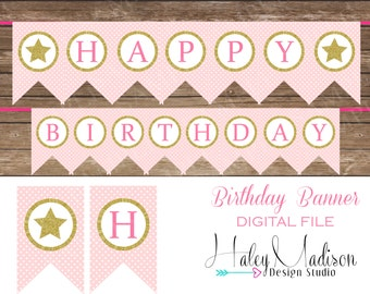 Gold Star, Gold Glitter Happy Birthday Banner DIGITAL FILE