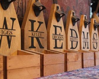 PERSONALIZED BEER Bottle Opener & Catcher -  Rustic Wood - Brewery - Monogram -  Cap Catcher - Groomsman Gift - Wood -  Shower Gift