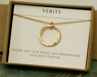 Gold sister necklace, best friend jewelry, gold linked rings necklace, maid of honour gift, gold double rings - Lilia