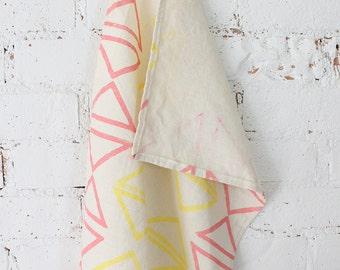 pink yellow triangle block printed hemp linen tea towel SALE