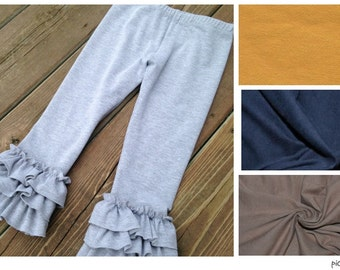 Ruffled Leggings for baby, toddler, girls - capris or pants. Fall colors: heather gray, navy blue, mustard yellow, mocha