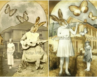 The Melody Makers Print Set - Anthropomorphic, Collage, Mixed Media, rabbit, Animal Art